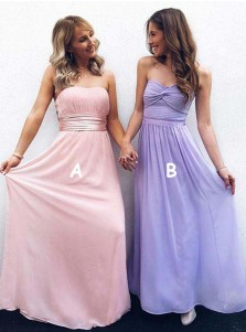 A-Line Strapless Pleated Pink Chiffon Bridesmaid Dress