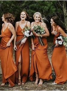 A-Line V-Neck Orange Chiffon Bridesmaid Dress with Split