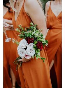 A-Line V-Neck Orange Chiffon Bridesmaid Dress with Split