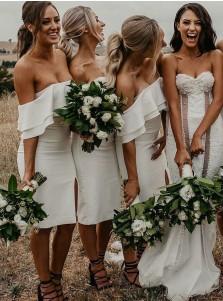 Sheath Off-the-Shoulder White Satin Bridesmaid Dress with Split Ruffles