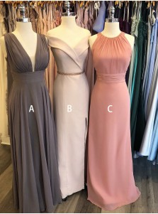 A-Line V-Neck Low-cut Grey Chiffon Bridesmaid Dress
