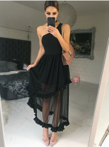 A-Line One Shoulder Black Chiffon Bridesmaid Dress with Ruffles