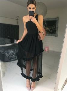 A-Line One Shoulder Black Chiffon Bridesmaid Dress with Ruffles