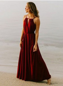 A-Line Square Neck Red Chiffon Bridesmaid Dress with Sash