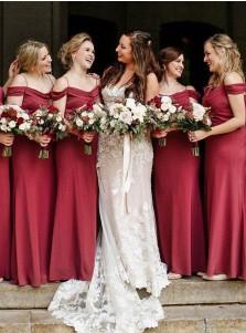 Sheath Cold Shoulder Floor Length Red Chiffon Bridesmaid Dress