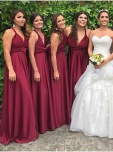 A-Line V-Neck Floor Length Pleated Pink Satin Bridesmaid Dress