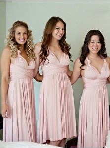 A-Line V-Neck Knee Length Pink Satin Bridesmaid Dress