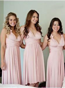 2dff18dcc44 A-Line V-Neck Knee Length Pink Satin Bridesmaid Dress