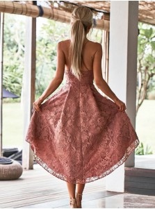 A-Line Spaghetti Straps High Low Blush Lace Homecoming dress with Pockets