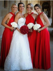 A-Line Cross Neck Floor Length Red Satin Bridesmaid Dress