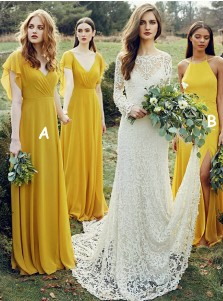 A-Line V-Neck Yellow Chiffon Bridesmaid Dress with Ruffles