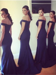 Mermaid Off-the-Shoulder Navy Blue Satin Bridesmaid Dress