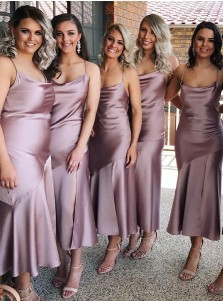 Sheath Spaghetti Straps Lilac Satin Bridesmaid Dress with Split