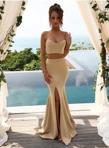 Two Piece Sweetheart Champagne Satin Bridesmaid Dress with Split