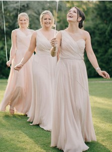 A-Line One-Shoulder Ruched Long Pearl Pink Chiffon Bridesmaid Dress
