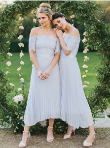 A-Line Off-the-Shoulder Light Blue Pleated Chiffon Bridesmaid Dress with Lace