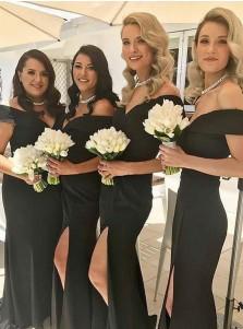 Mermaid Off-the-Shoulder Black Satin Bridesmaid Dress with Split