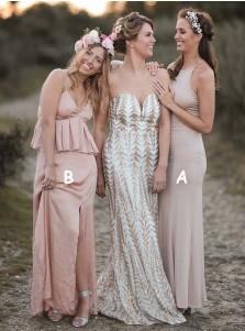 Sheath Round Neck Ankle Length Grey Spandex Bridesmaid Dress