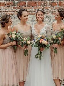 A-Line Spaghetti Straps Tea Length Pink Tulle Bridesmaid Dress
