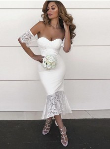 Mermaid Sweetheart High Low White Bridesmaid Dress with Lace