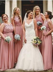 Round Neck Floor Length Purple Chiffon Bridesmaid Dress with Lace