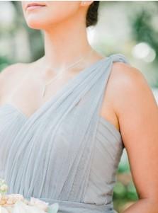 A-Line One Shoulder Long Light Grey Tulle Bridesmaid Dress