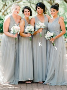 A-Line One Shoulder Long Light Grey Tulle Bridesmaid Dress