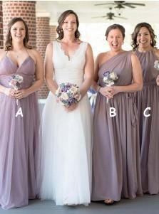 A-Line Halter Floor Length Lavender Tulle Bridesmaid Dress