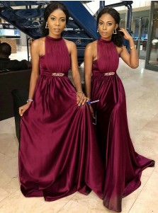 A-Line Round Neck Burgundy Satin Bridesmaid Dress with Beading