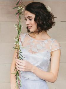 Two Piece Round Neck Light Blue Chiffon Bridesmaid Dress with Lace