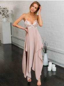 Spaghetti Straps Asymmetry Pink Bridesmaid Dress with Sequins