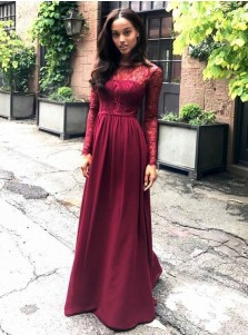312624ae966 Round Neck Dark Red Chiffon Bridesmaid Dress with Lace Sleeves