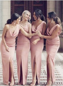 Sheath Sleeveless Pink Long Bridesmaid Dress with Split