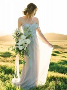 A-Line Off-the-Shoulder Cold Shoulder Sage Chiffon Bridesmaid Dress