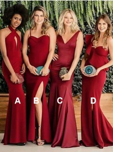 cc59c6bf695 Sheath Halter Long Red Satin Bridesmaid Dress with Keyhole