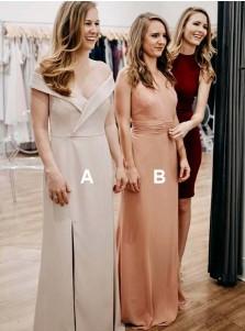 Sheath Off-the-Shoulder Light Grey Bridesmaid Dress with Split