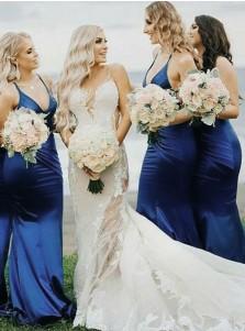 Mermaid Spaghetti Straps Sweep Train Blue Satin Bridesmaid Dress