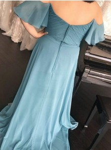 A-Line Off-the-Should Ruched Blue Chiffon Bridesmaid Dress with Ruffles