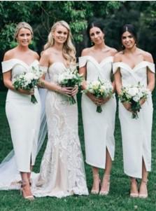 Sheath Off-the-Shoulder White Satin Bridesmaid Dress with Split
