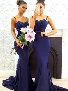 Mermaid Spaghetti Straps Navy Blue Satin Bridesmaid Dress with Lace beading