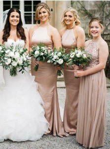 Sheath Jewel Sweep Train Sleeveless Blush Satin Bridesmaid Dress