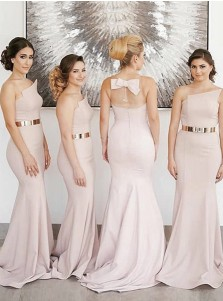 Mermaid Strapless Sweep Train Pink Satin Bridesmaid Dress with Belt