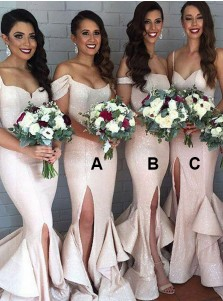 Mermaid Off-the-Shoulder Pearl Pink Bridesmaid Dress with Ruffles