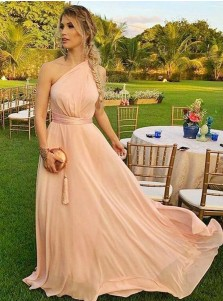 A-Line One-Shoulder Sweep Train Pink Chiffon Bridesmaid Dress