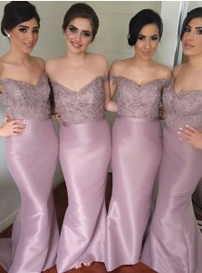 Sheath Off-the-Shoulder Lavender Satin Bridesmaid Dress with Lace Beading