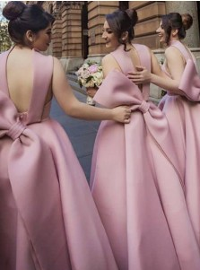 A-Line High Neck High Low Light Champagne Satin Bridesmaid Dress