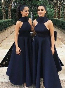 A-Line High Neck Navy Blue Satin Bridesmaid Dress with Bowknot
