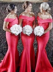 Mermaid Off-the-Shoulder Sweep Train Red Satin Bridesmaid Dress