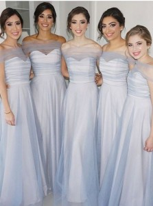 A-Line Off-the-Shoulder Floor Length Blue Tulle Bridesmaid Dress