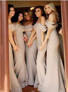 Mermaid Off-the-Shoulder Sweep Train Grey Satin Bridesmaid Dress